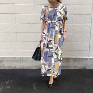 Geometric print dress【RE LEAN】