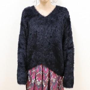 Feather yarn Vneck Knit【RE LEAN】
